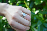 925 Silver Rainbow Moonstone Small Oval Ring