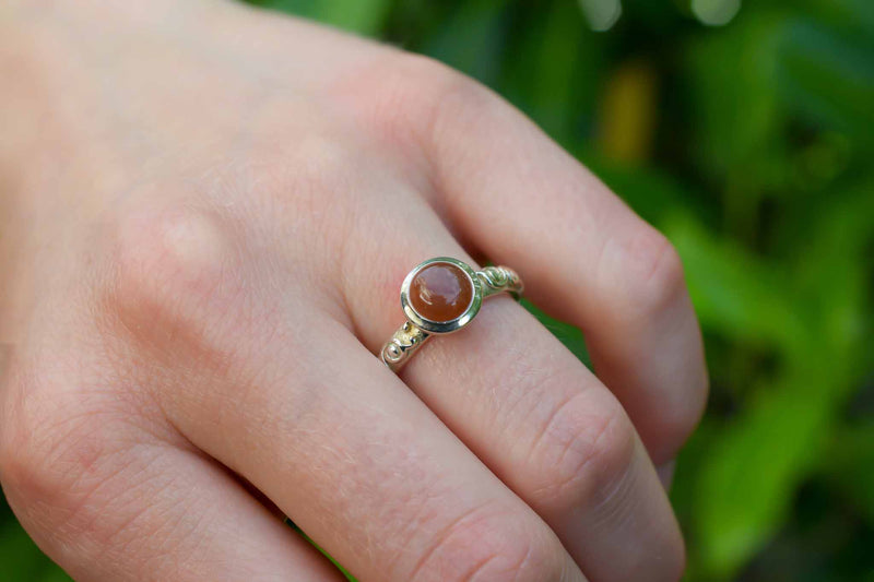 925 Silver Small Circular Decorated Chocolate Moonstone Ring