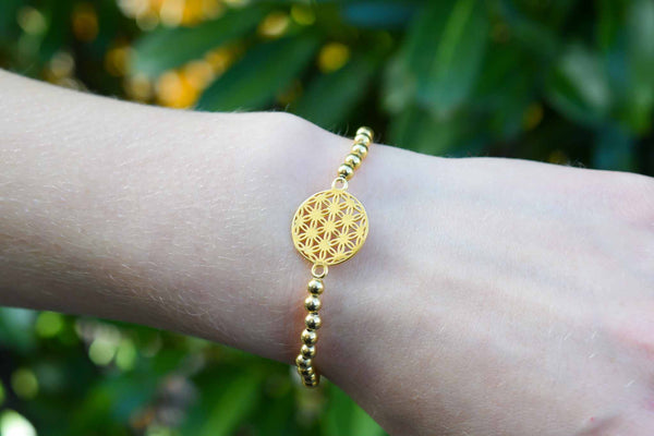 925 Silver Gold-Plated Flower of Life Elastic Bracelet
