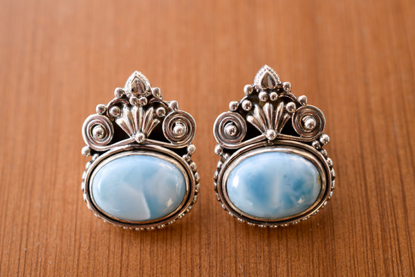 925 Silver Larimar Mughal-Style Heavy Earrings
