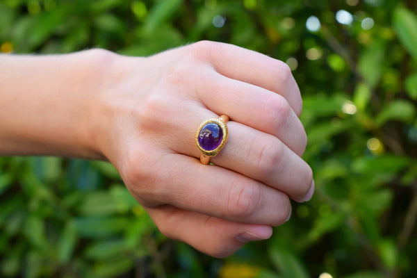 925 Silver Gold-Plated Decorated Amethyst Ring