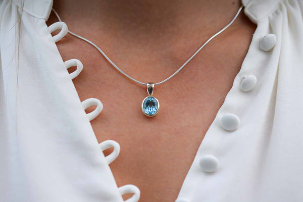 925 Silver Blue Topaz Faceted Pendant
