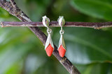 925 Silver Small Reconstituted Drop Wrap-Around Coral Earrings