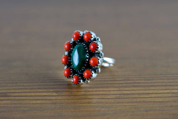 925 Silver Malachite and Synthetic Coral Flower Ring