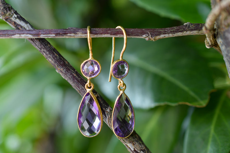 925 Silver Gold-plated Drop and Circular Faceted Amethyst Earrings