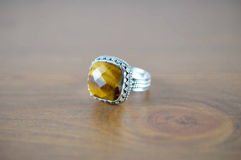 925 Silver Decorated Faceted Square Tiger's Eye Mughal-Style Ring