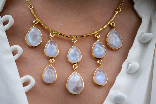 925 Gold-Plated Silver Rainbow Moonstone Necklace