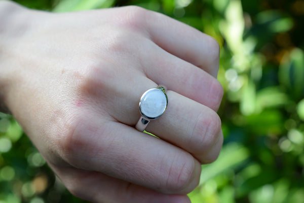 925 Silver Rainbow Moonstone Small Oval Inverted Ring