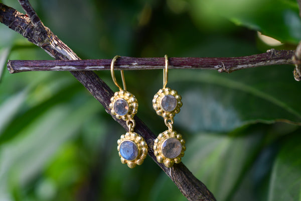 925 Gold-Plated Silver Decorated Two Labradorite Earrings