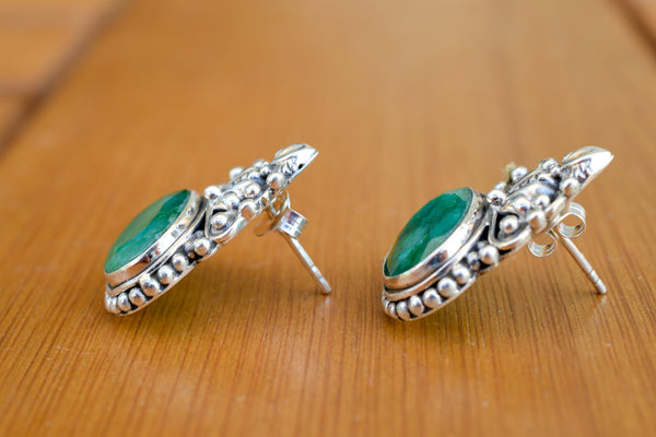 925 Silver Emerald Mughal-Style Heavy Earrings