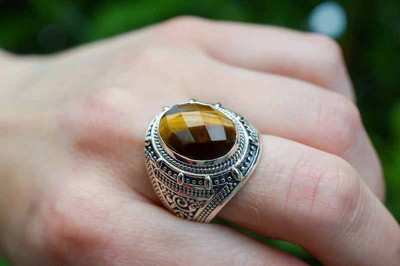 925 Silver Tiger's Eye Large Decorated Ring