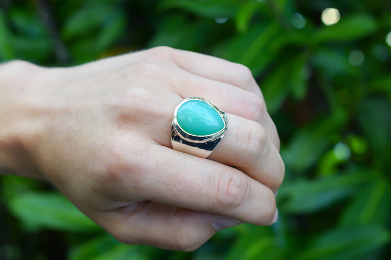 925 Silver Drop Shaped Large Chrysoprase Ring