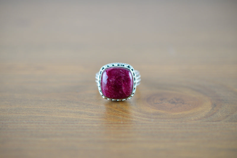 925 Silver Decorated Square Ruby Mughal-Style Ring