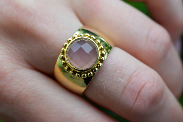 925 Silver Gold-Plated Pink Agate Decorated Heavy Ring