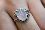 925 Silver Medium Oval Rose Quartz Decorated Ring