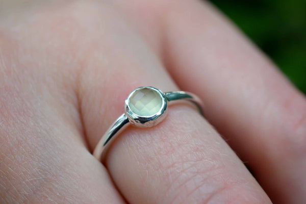 925 Silver Faceted Small Agate Ring