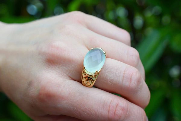 925 Gold-Plated Silver Large Green Agate Faceted Claw Ring