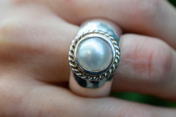 925 Silver Heavy Cultured Pearl Ring