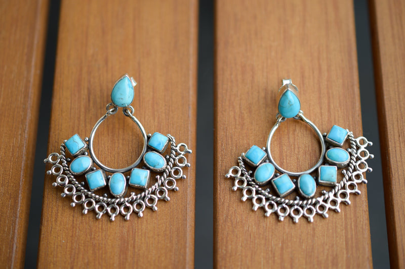 925 Silver Turquoise Mughal Earrings
