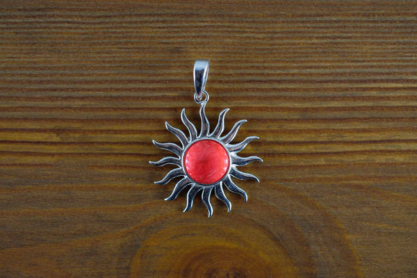 925 Silver Reconstituted Coral Large Sun-Shaped