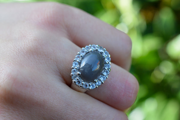 925 Silver Grey Moonstone and Zirconia Ring