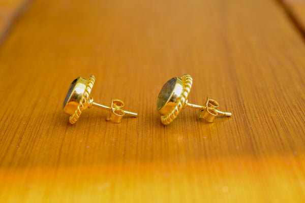 925 Silver Gold-Plated Labradorite Decorated Stud Earrings