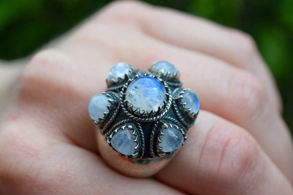 925 Silver Large Rainbow Moonstone Mughal Style Ring