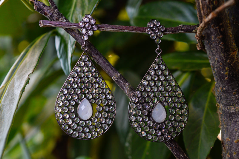 925 Silver Blackened Drop-Shaped Crystal and Moonstone Earrings