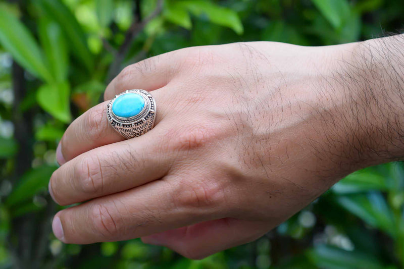 925 Silver Decorated Turquoise Decorated Ring