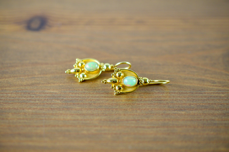 925 Silver Gold-Plated Opal Indian-style Earrings