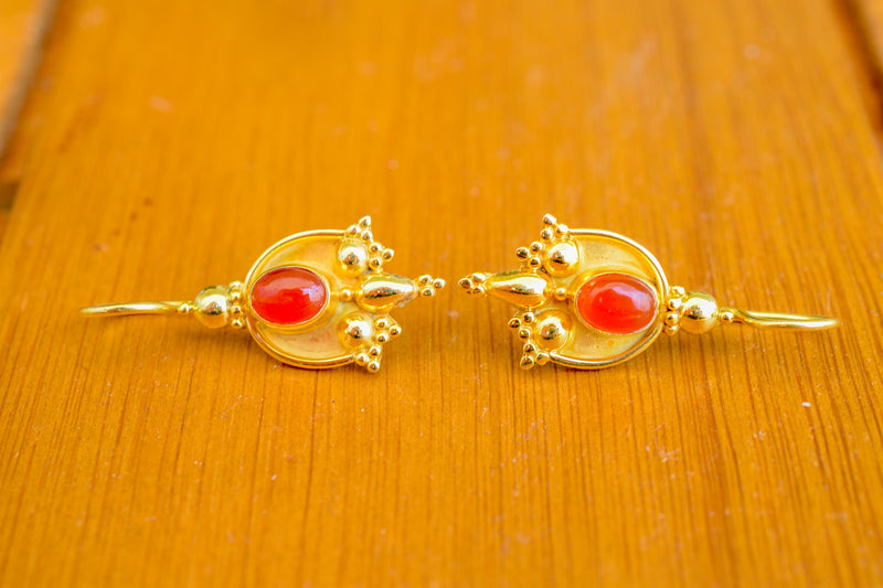925 Silver Gold-Plated Carnelian Indian-Style Earrings