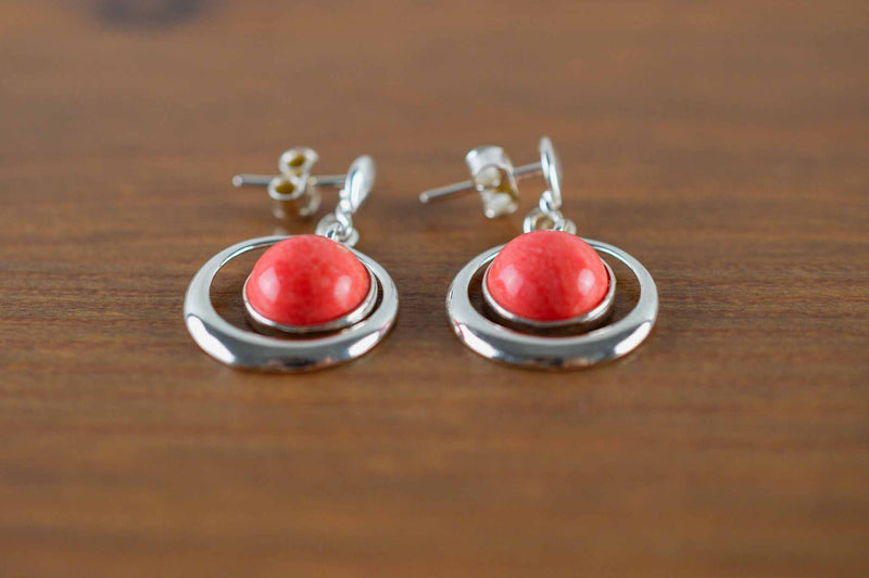 925 Silver Reconstituted Coral Round Drop-Shaped Earrings