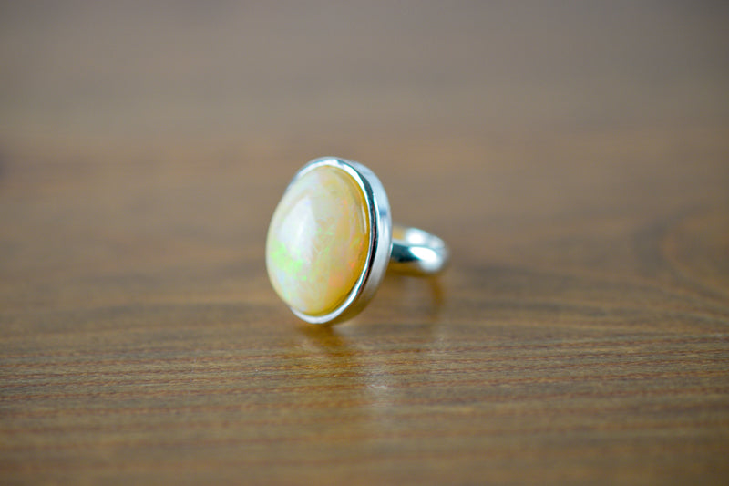 925 Silver Precious Oval Opal Ring