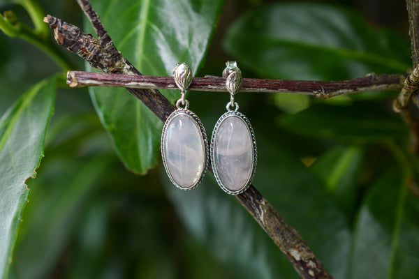 925 Silver Dangling Decorated Oval Rose Quartz Earrings