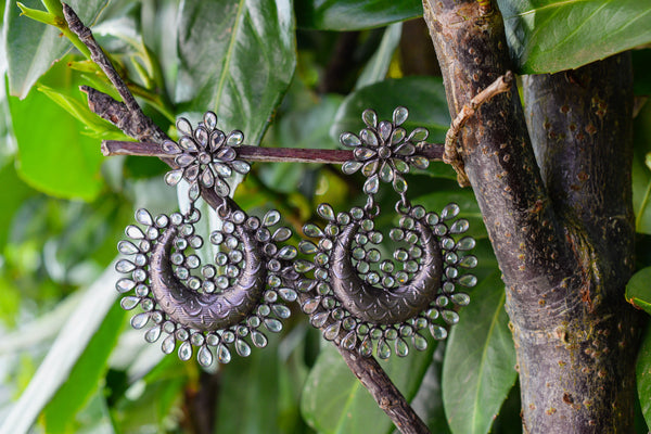 925 Silver Blackened Round Crystal Earrings