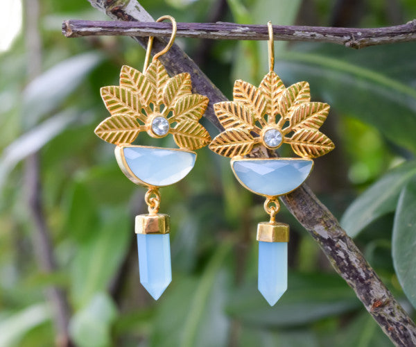 925 Silver Gold-Plated Aqua Agate and Blue Topaz Flower Earrings