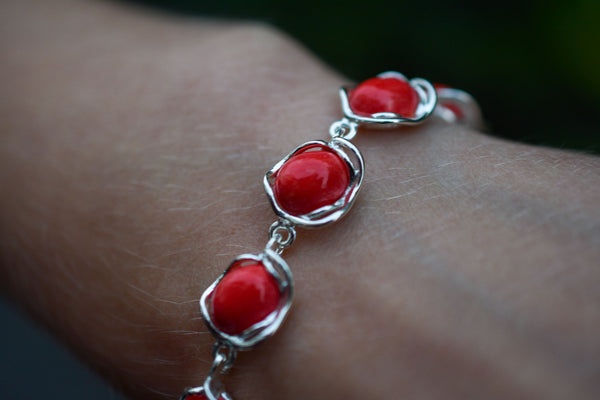 925 Silver Reconstituted Coral Decorated Bracelet