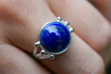 925 Silver Lapis Lazuli Claw Ring