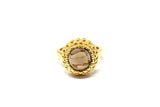 925 Gold-Plated Silver Smoky Quartz Decorated Circular Ring