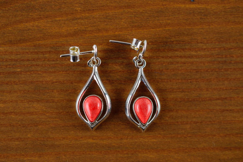 925 Silver Reconstituted Coral Medium Drop-Shaped Earrings