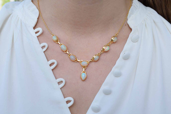 925 Silver Gold-Plated Silver Precious Opal Necklace