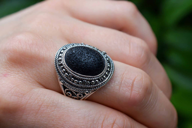 925 Silver Large Oval Synthetic Lava Stone Decorated Ring