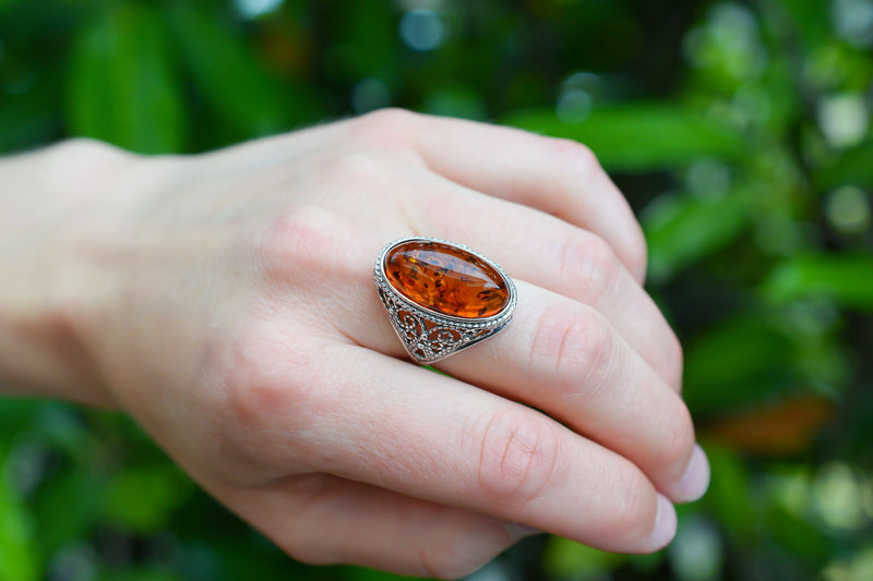 925 Silver Large Oval Cognac Amber Decorated Ring
