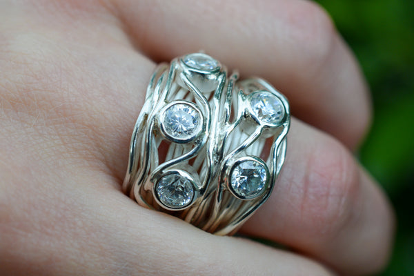 925 Silver Heavy Intertwined Zirconia Ring