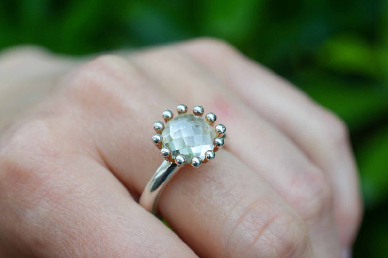 925 Silver Claw Rock Crystal Ring
