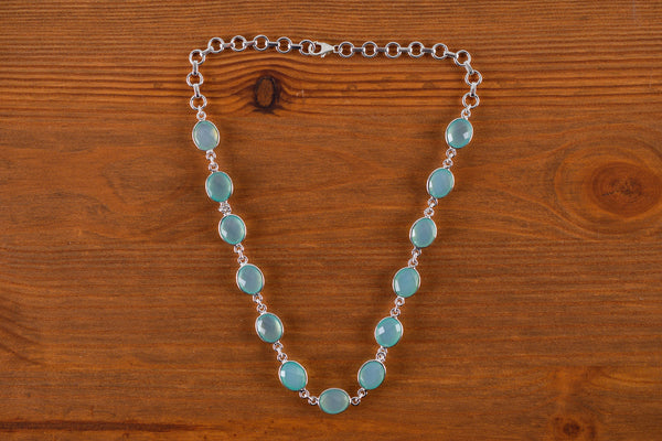 925 Silver Aqua Agate Necklace