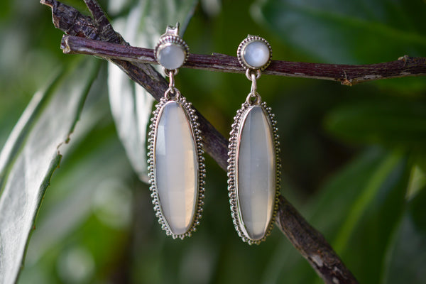 925 Silver Faceted Grey Moonstone Decorated Earrings