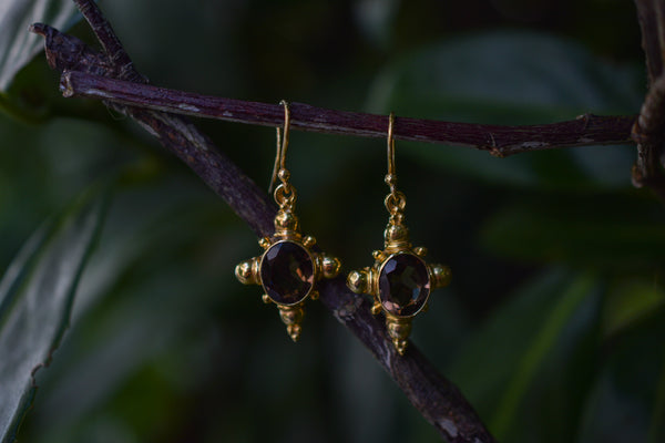 925 Gold-Plated Smoky Quartz Indian-style Earrings