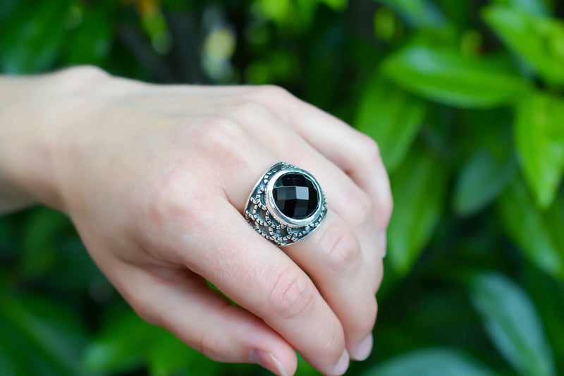 925 Blackened Silver Black Onyx Ring