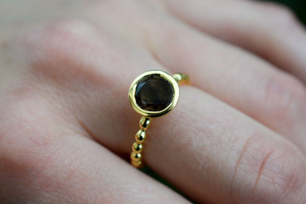 925 Gold-Plated Silver Smoky Quartz Ring